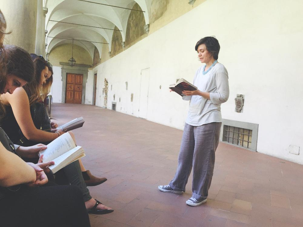 Professor teaching on site in Florence