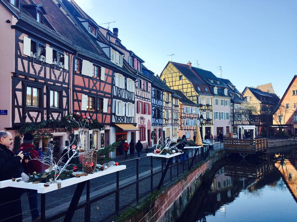 Colorful houses along Strasbourg canal