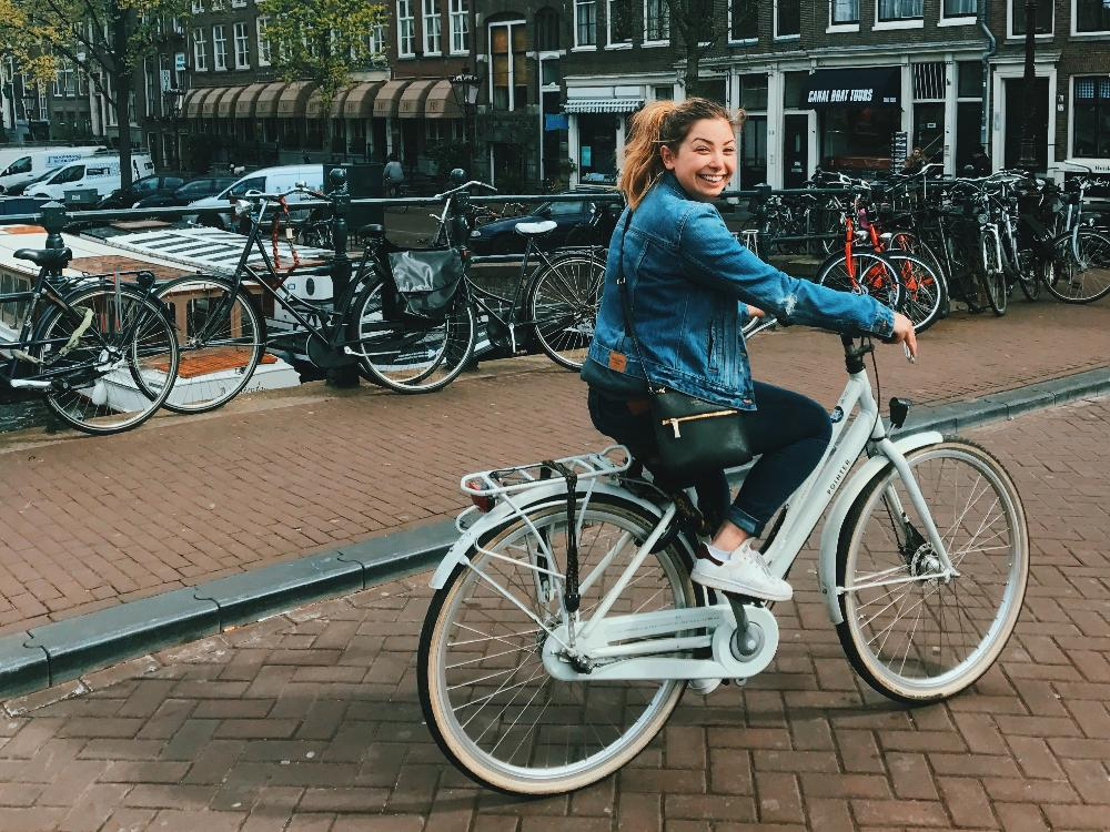 Student riding bike in the Netherlands by Maddy Choate