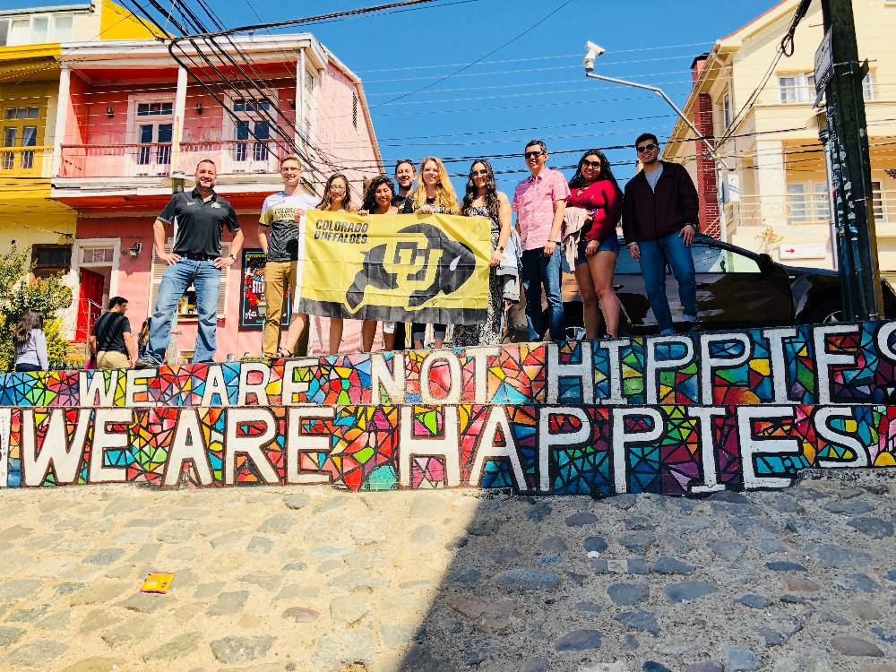 Global Intensive Students holding up CU flag in Valparaiso, Chile