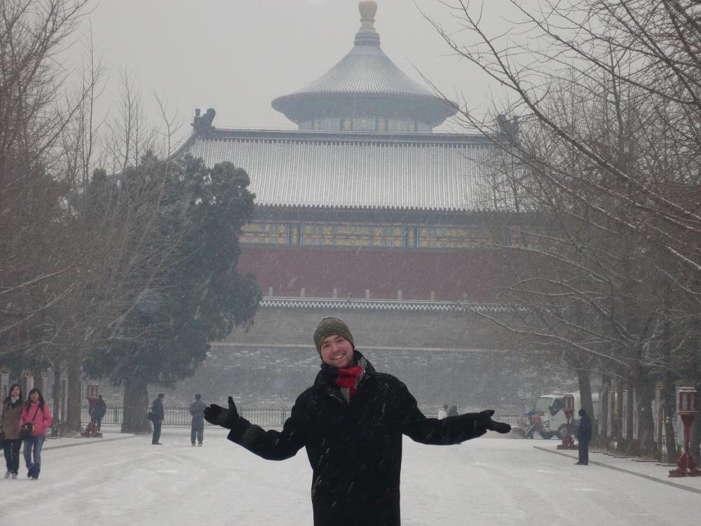 Scott Shively in a Shanghai snowstorm