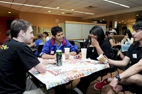 Students socializing at CU Boulder International Coffee Hour