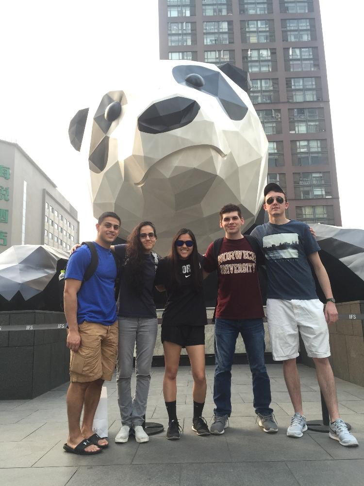 Students and Panda