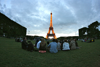 Eiffel Tower & Students by Catie Conant