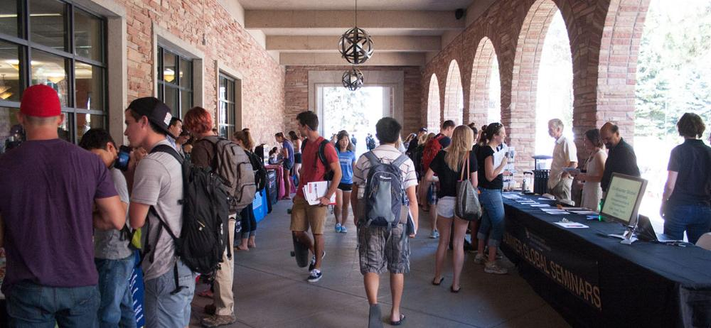 Students at Fall Fair in UMC Fountain area